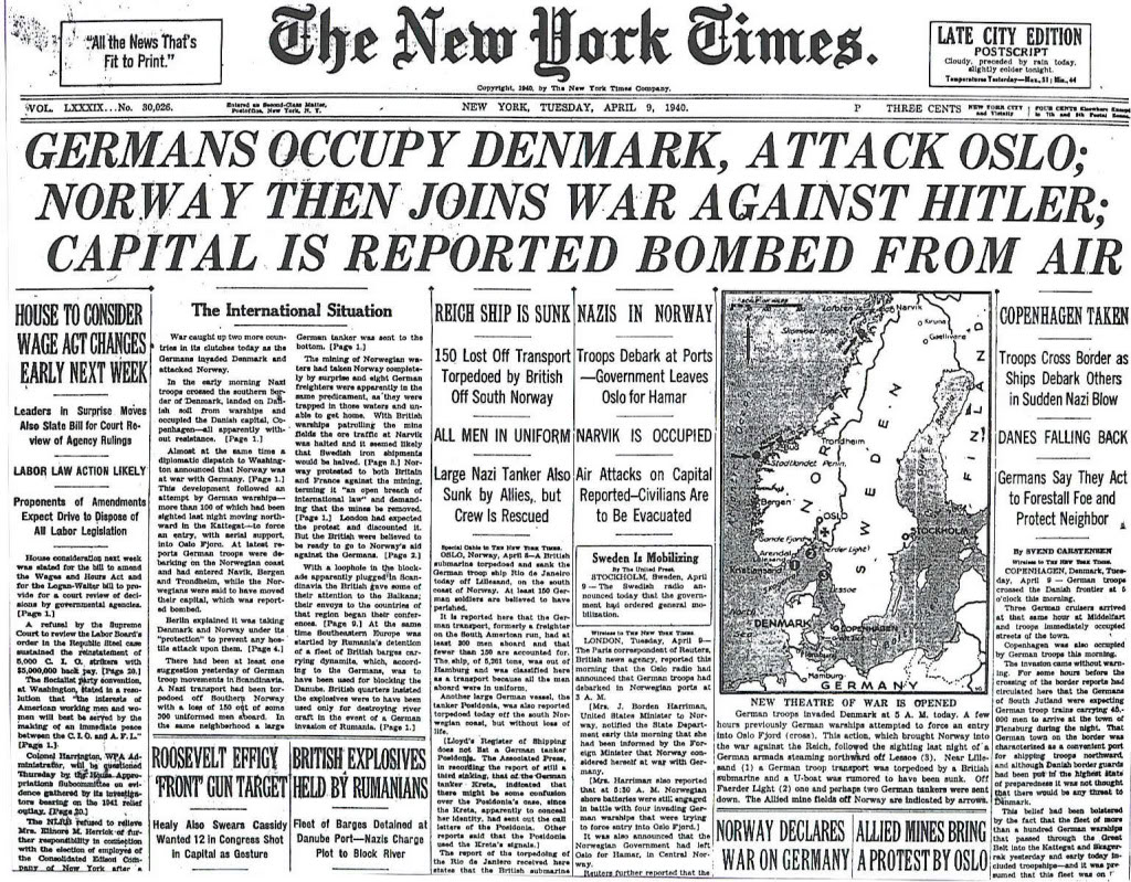 The New York Times front page on April 9, 1940