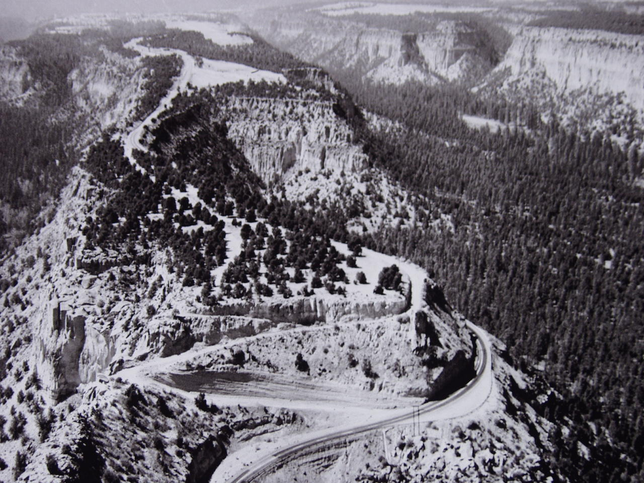 Aerial view of road to Los Alamos.