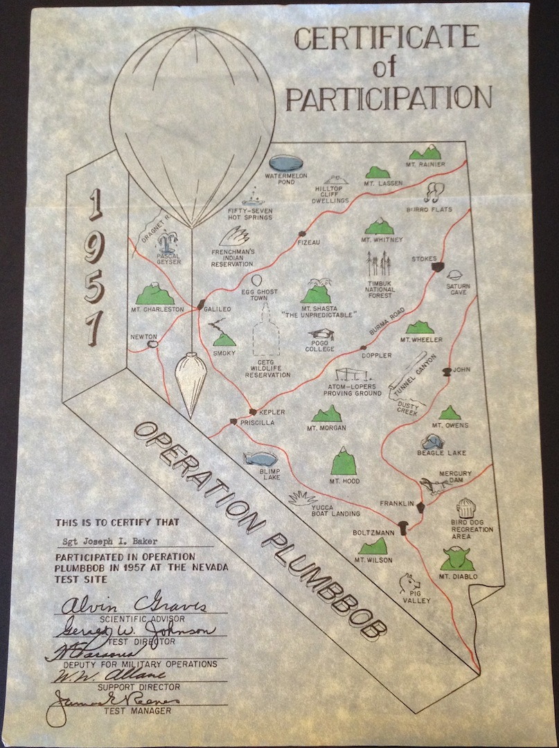 Certificate of participation, Operation Plumbbob