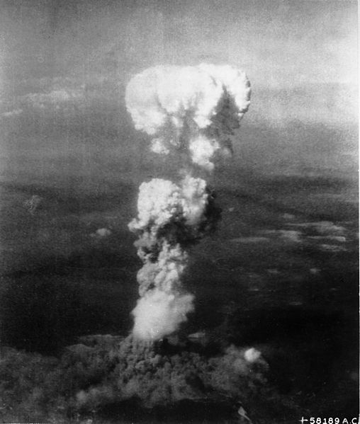 The mushroom cloud after the bombing of Hiroshima on August 6, 1945