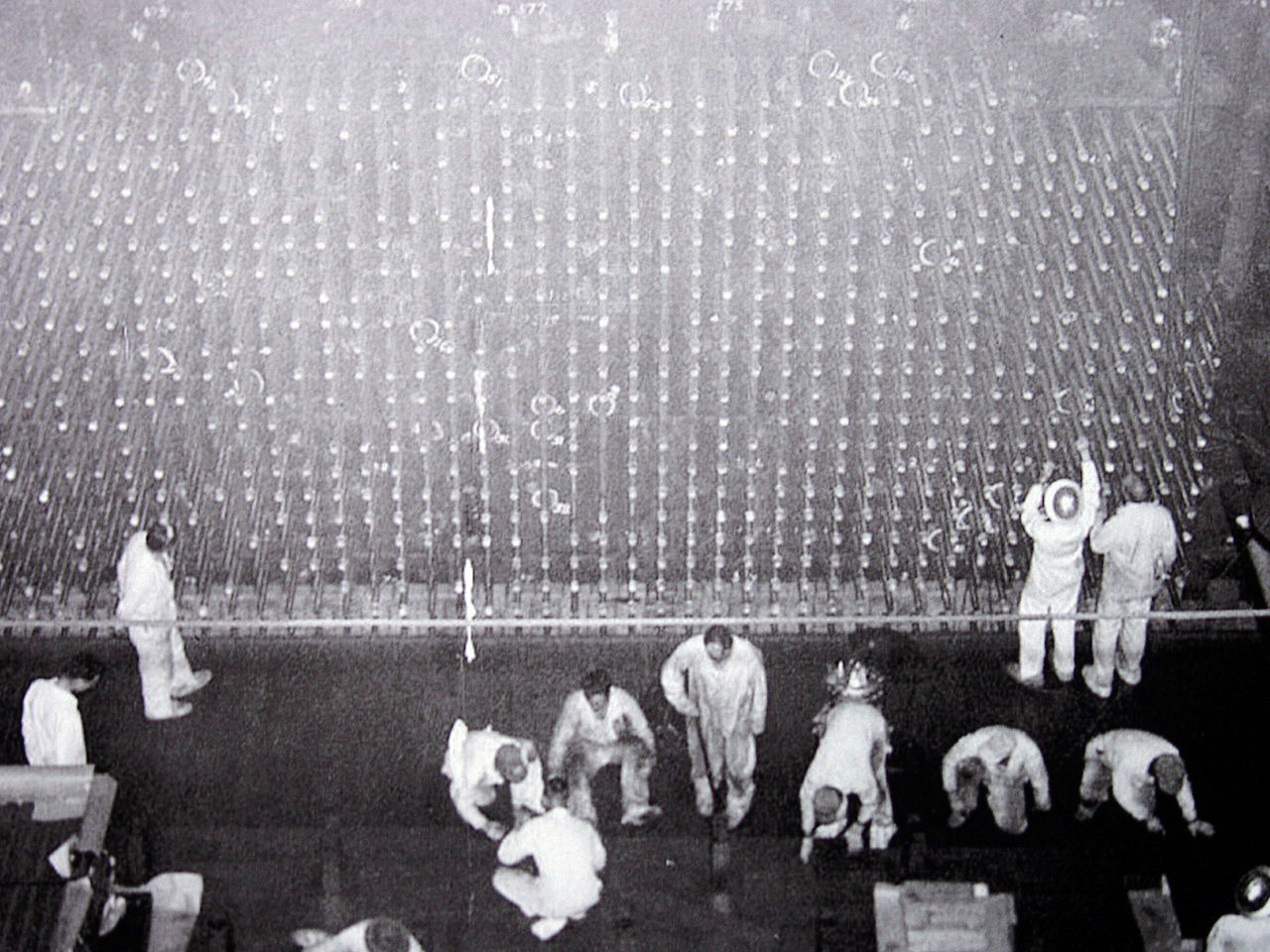 Men working on the face of the B Reactor