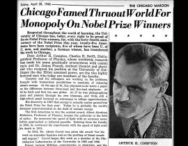 The seventh page of the April 20, 1945 issue of The Maroon which included the article that alluded to the Manhattan Project and almost got the paper shut down. Image courtesy of the Chicago Maroon.