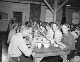 Eating lunch in one of Hanford's mess halls