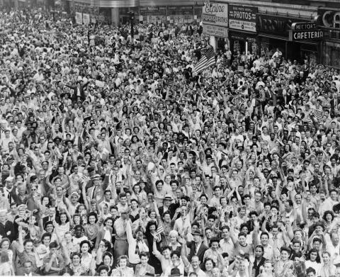 Victory over Japan (V-J) Day in Times Square, September 2, 1945.