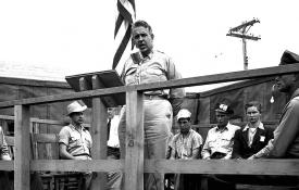 General Leslie Groves addressing a crowd at Hanford