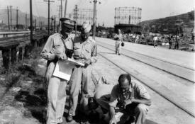 Manhattan Project Survey Team in Hiroshima. Photo courtesy of the Patricia Cox Owen Collection, AHF.
