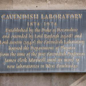 Plaque outside Cavendish Laboratory