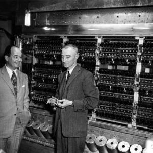 J. Robert Oppenheimer, John Von Neumann, and the MANIAC computer. Courtesy of the Shelby White and Leon Levy Archives Center, Institute for Advanced Study (IAS). © Alan Richards.