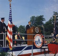 President John F. Kennedy delivers the commencement address at American University, June 10, 1963. Photograph courtesy of the JFK Library.