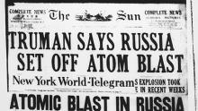 Newspaper announcing that the USSR has the bomb