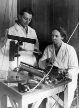 Irene Joliot-Curie and Frederic Joliot in their laboratory. Photo courtesy Association Curie Joliot-Curie.