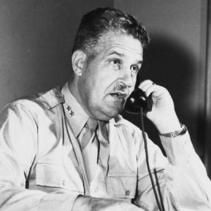 General Leslie R. Groves at work on the telephone