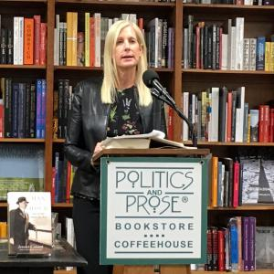 Jennet Conant speaking at Politics and Prose