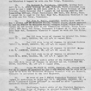 Adolph Molin SED Detachment Letter to Oak Ridge, 1944, Page 2