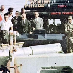 Crew members on the USS Petrel after the recovery of the missing H-bomb, 1966.