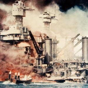 Battleship USS West Virginia under attack