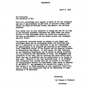 """The Secretary of Agriculture granting use of federal land for a """"demolition site"""" at Los Alamos"""