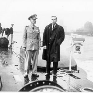 Dr. Waldo Cohn, chief research scientist for the U.S. Navy at the Arctic Submarine Laboratory, and Hyman G. Rickover