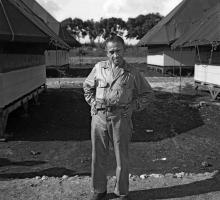 New York Times reporter William Laurence on Tinian. Photograph courtesy LANL.