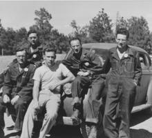 A group of soldiers from the Special Engineering Detachment at Los Alamos. Messinger is pictured at the far right.