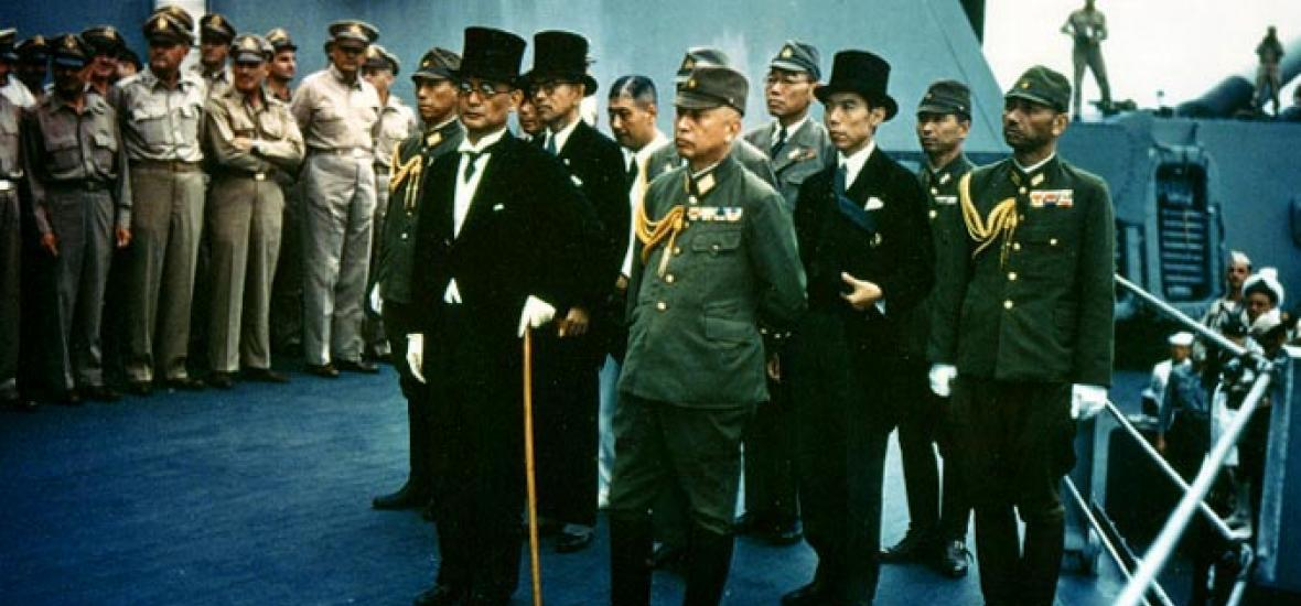 The official Japanese surrender aboard the USS Missouri